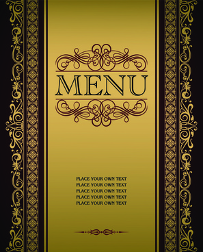 vector menu with gold frame