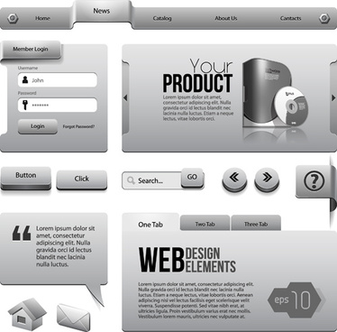 vector metal style website template