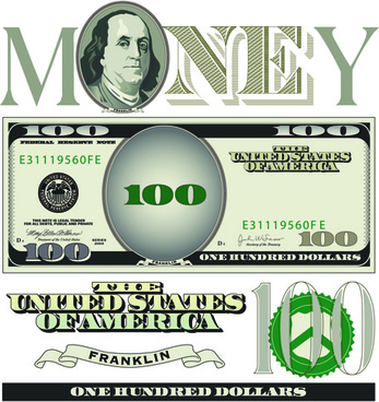 vector money with dollars design template