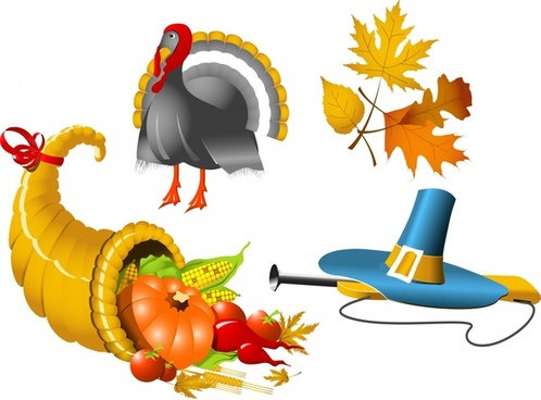 season holidays design elements turkey vegetables leaf sketch