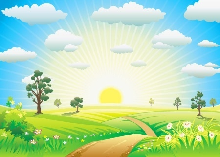 nature landscape theme colorful sunlight decoration