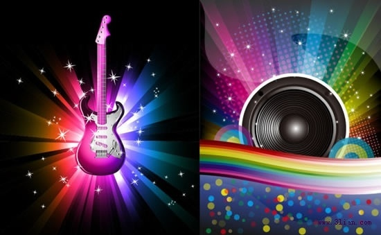 music background templates sparkling colorful dynamic rays decor