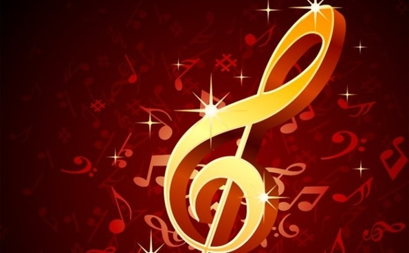 musical notes background sparkling golden symbol ornament