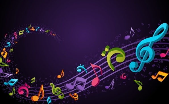 3d musical background colorful notes curves lines ornament