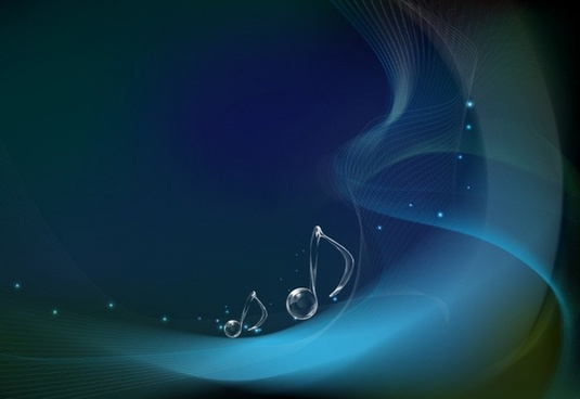 Vector Musical Notes on Wave Background
