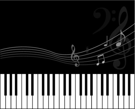music background black white design keyboard notes icons