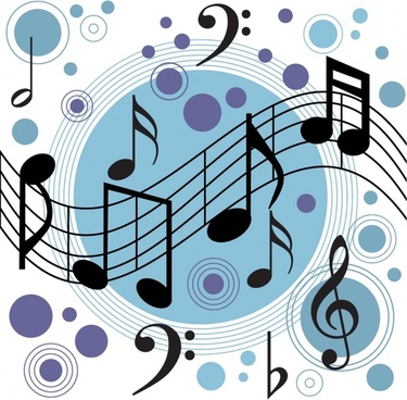 music background circles notes lines icons decor