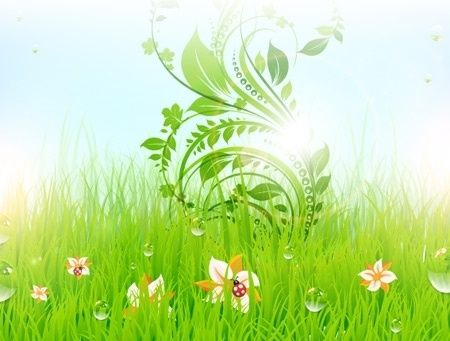 nature background green grass decoration curved flowers design