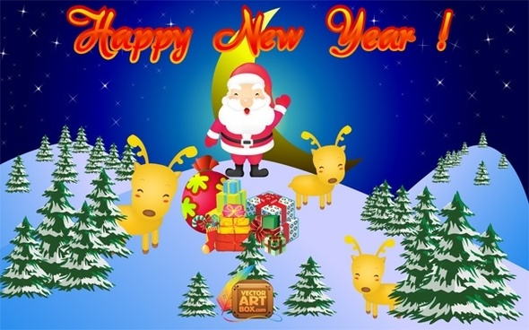 new year christmas background santa deers gifts design