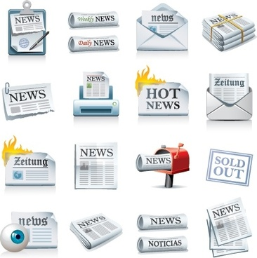 media design elements newspaper icons modern 3d design