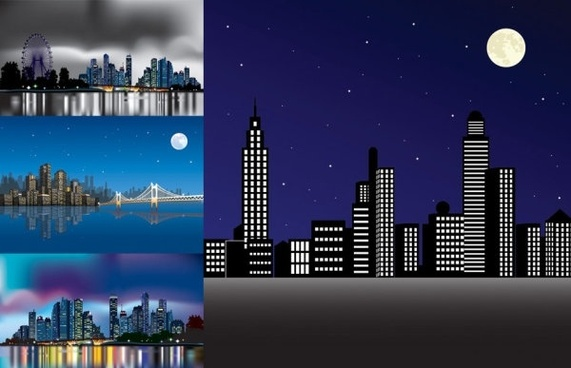 vector night city under