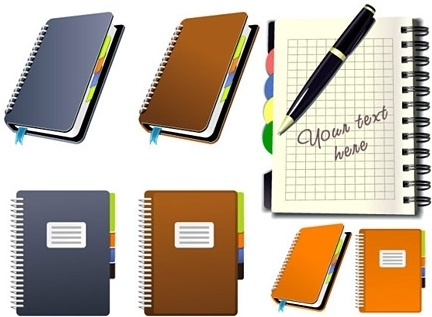 notebooks icons collection colored flat design