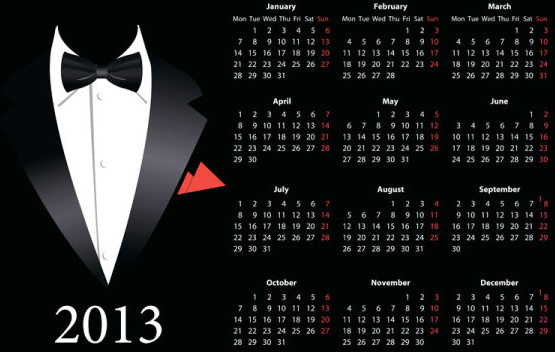 vector of13 year calendar design elememnts