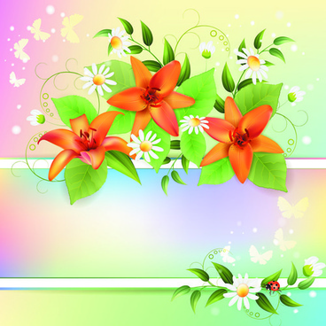 vector of color spring flower backgrounds