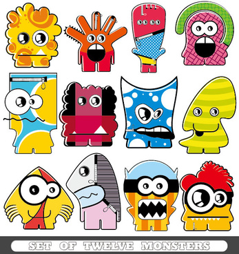 vector of funny cartoon monsters