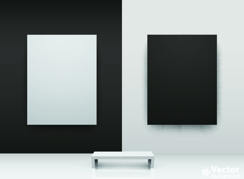vector of interior gallery backgrounds set