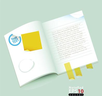 vector of open notebook design elements