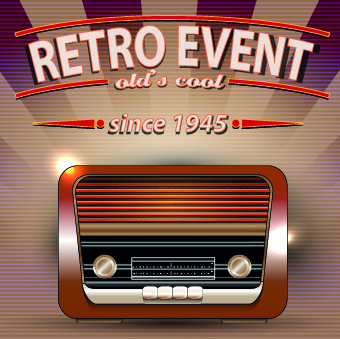 vector of retro party posters set