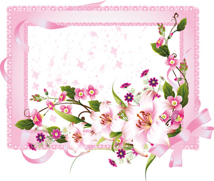 vector of spring fresh flower frame set