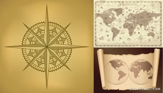 geographic background templates vintage compass map sketch