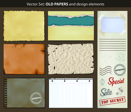 vector old paper design elements set