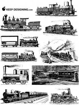 vintage train drawing sets classical black white outline