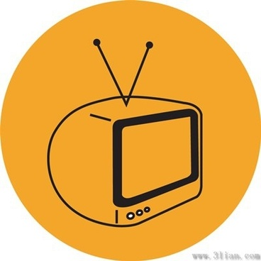 vector orange background tv icon