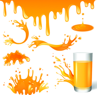 vector orange juice design elements
