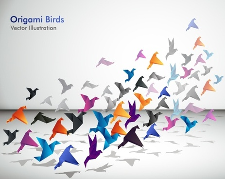 origami birds background colorful dynamic 3d sketch