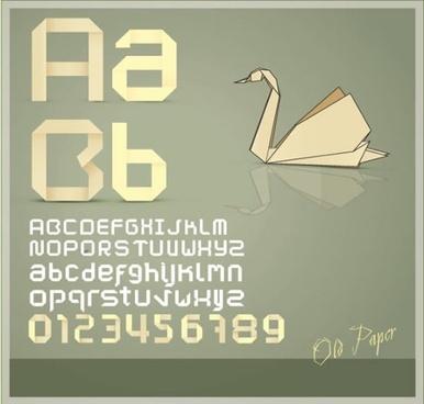 vector origami alphabet wordart