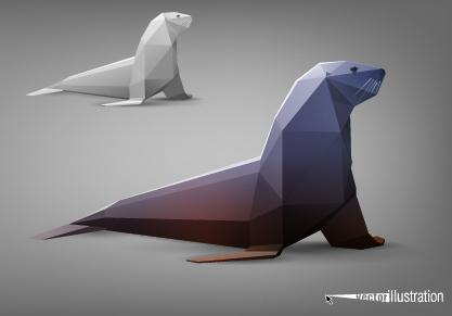 vector origami animal model set