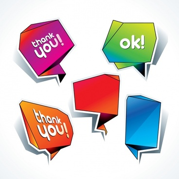 message text box templates modern 3d origami shapes