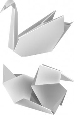 vector origami paper cranes