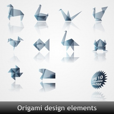 animal icons modern origami design
