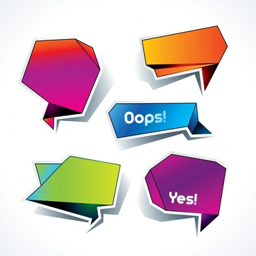 communication text box templates modern origami shapes