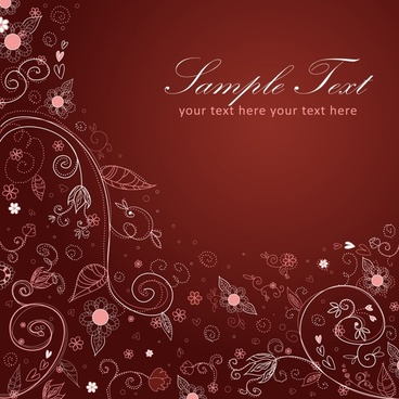 nature background template elegant handdrawn petals leaf sketch