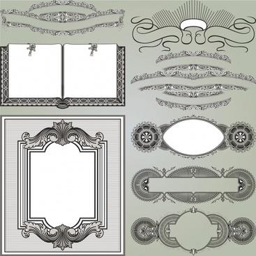 document decorative templates european retro elegant symmetric shapes