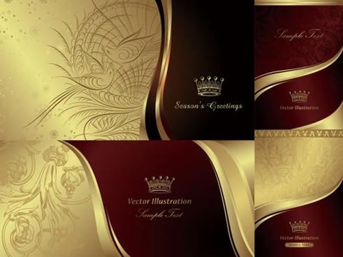card cover templates elegant golden red retro design