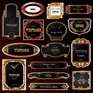labels templates collection elegant black golden decor