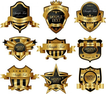 label templates elegant golden black decor 3d shapes
