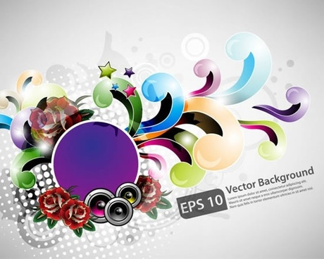 decorative background dynamic colorful curves floral sketch