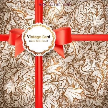decorative cover template elegant ribbon 3d classic floral