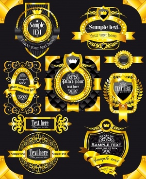 premier label templates elegant luxury golden black decor