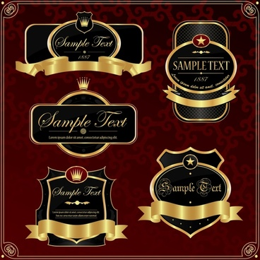 premium labels templates shiny golden black shapes
