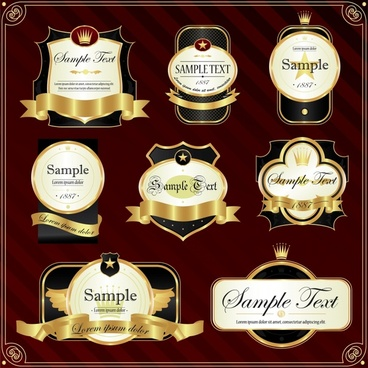 premium labels templates shiny ribbon crown decor