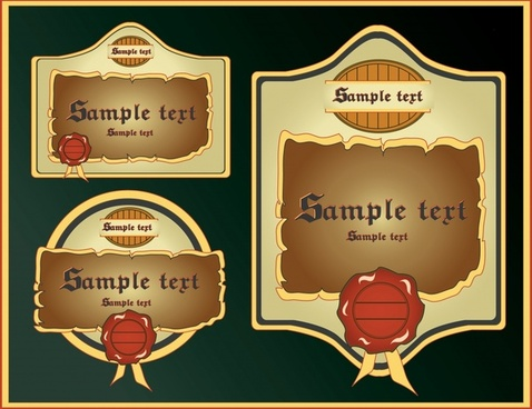 label templates vintage colored flat rounded shapes
