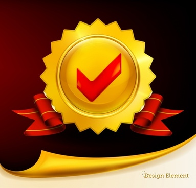 medal background elegant red golden 3d sketch