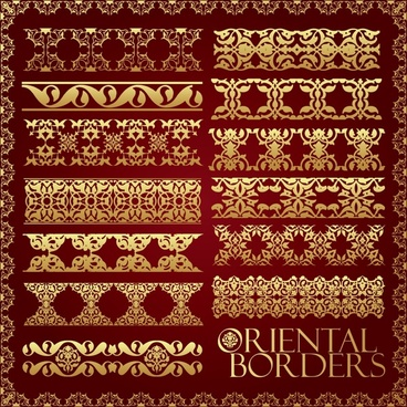 border decorative elements elegant oriental symmetric design