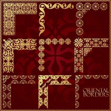 oriental border templates elegant golden symmetric seamless decor