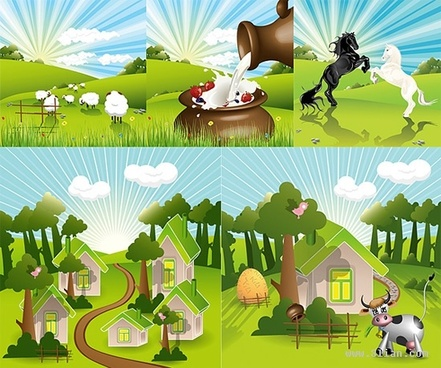 countryside background sets bright sparkling colorful cartoon design